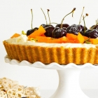 Persimmon, Cherry and Pistachio Tart