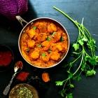 Gatte ke subzi : Vegetarian sausage curry; GF