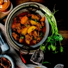 Amritsari wadiyan aloo subzi ; Potatoes with dried lentil dumplings curry