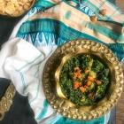Bori diye Palong Shak:  Spinach with lentil dumplings