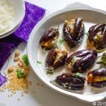 Stuffed Baby Eggplants in Yoghurt Sauce