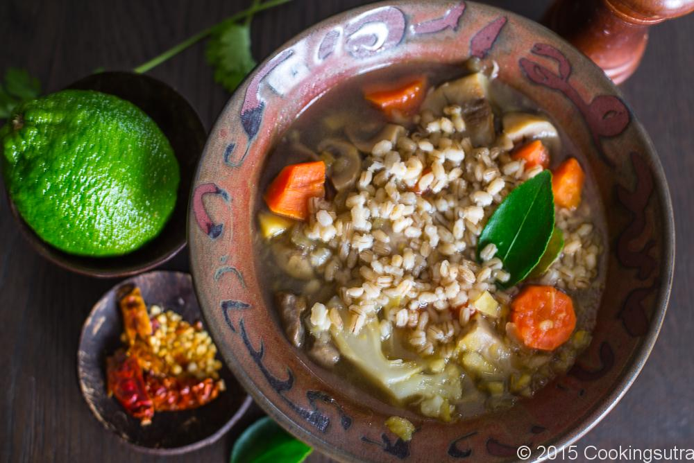 Barley and vegetable soup-4