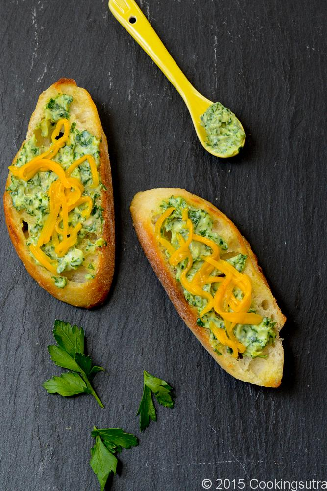 parsley and mango bruschetta