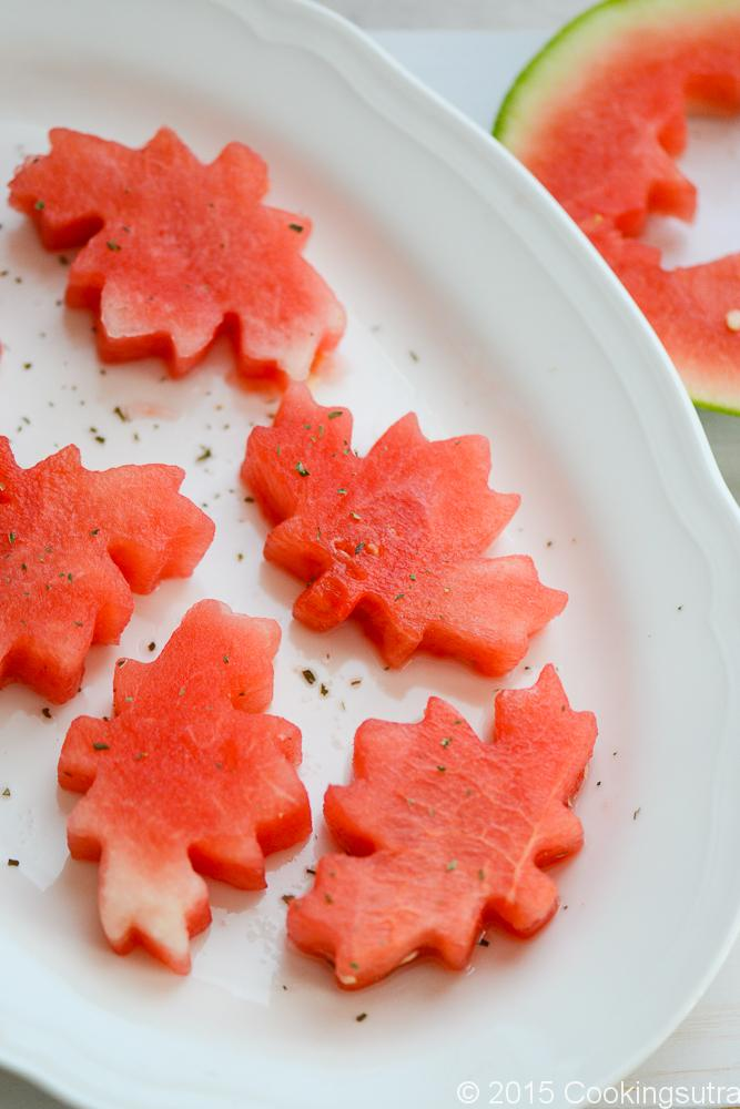 Honey and mint soaked Watermelon pops for Canada Day