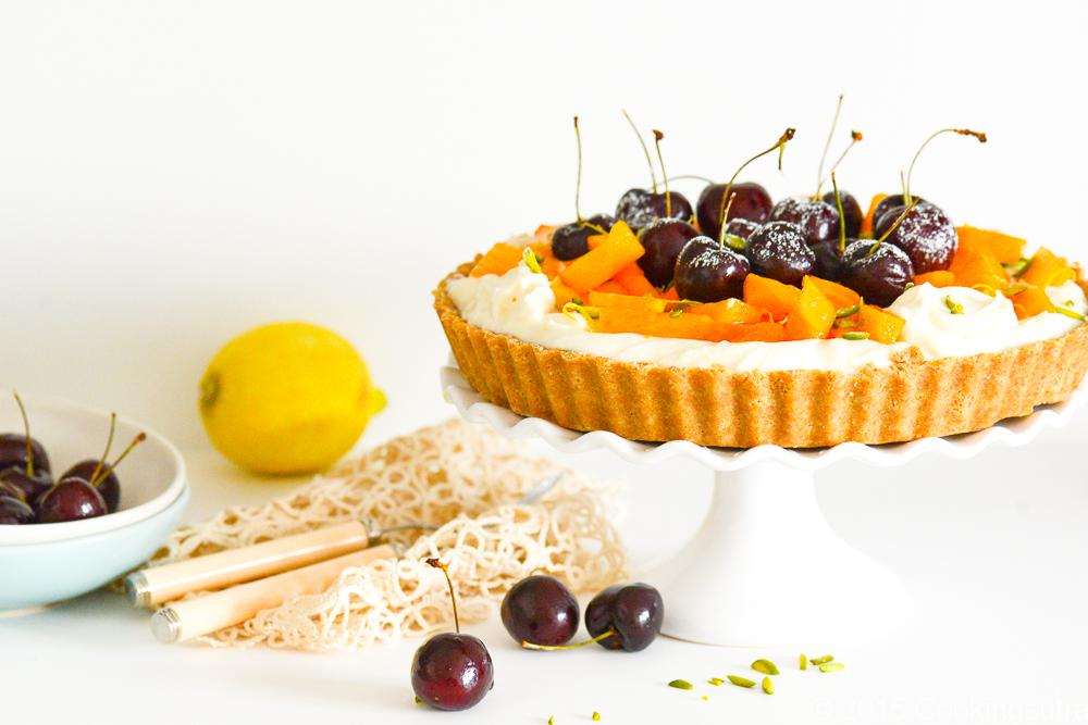 persimmon, cherry and pistachio tart fg-9